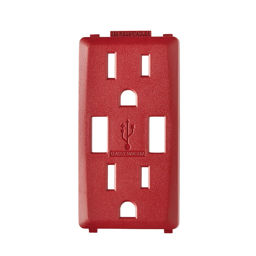 Leviton Renu Face Plate for 3.6A USB Charger/15A Receptacle (Wallplate not Included) in Red Delicious