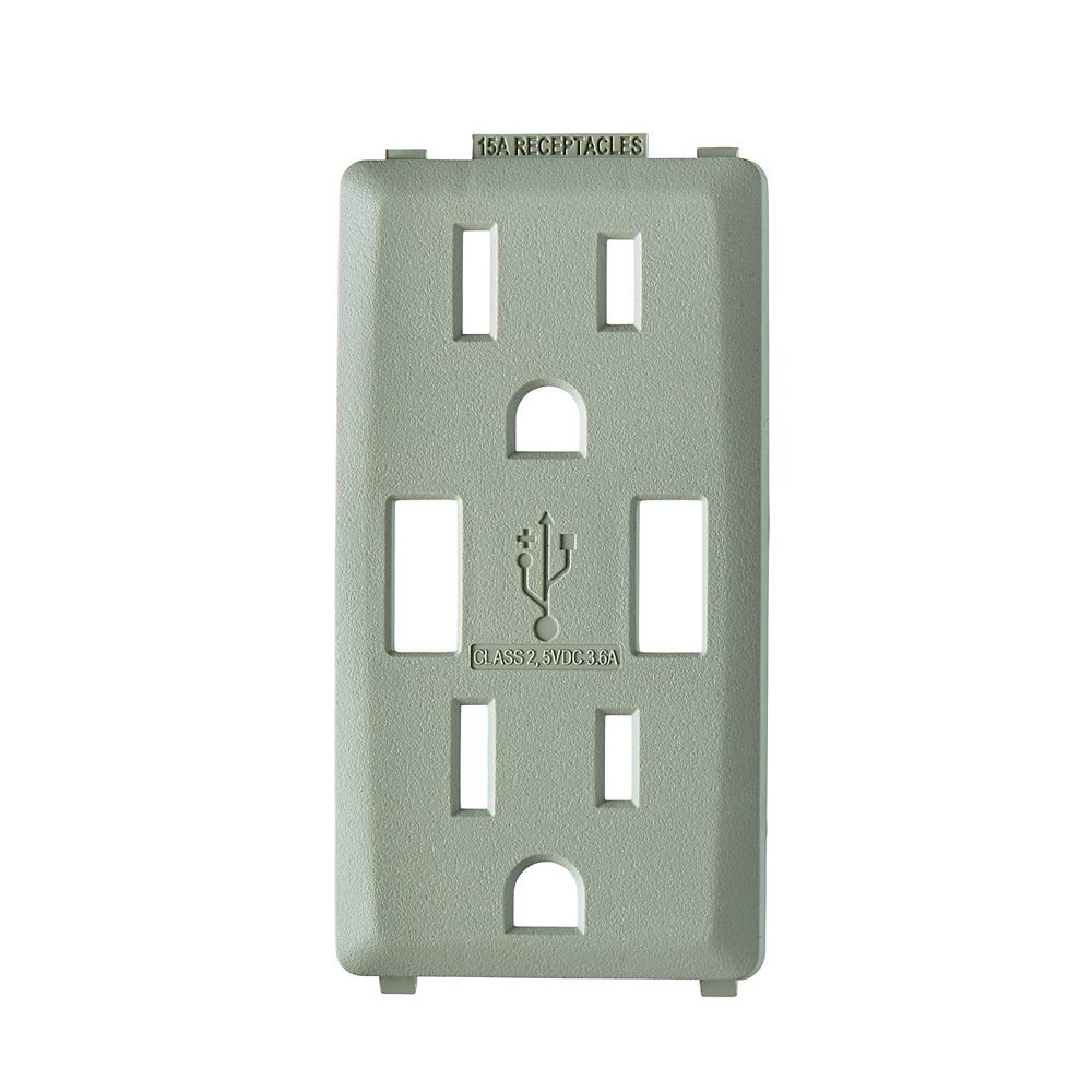 Leviton Renu Face Plate for 3.6A USB Charger/15A Receptacle (Wallplate not Included) in Wood Smoke