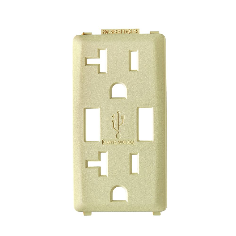 Leviton Renu Face Plate for 3.6A USB Charger/20A Receptacle (Wallplate not Included) in Gold Coast White