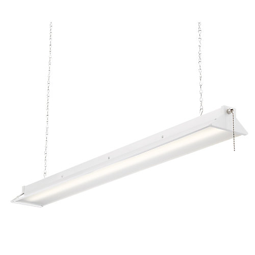 3 ft. 64-Watt White Integrated LED Shop Light with Pull Chain - ENERGY STAR®