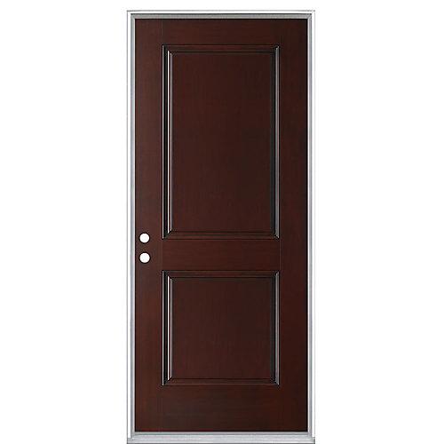 Everland 32-inch x 4 9/16-inch 2-Panel Fibreglass Right Hand Prehung Exterior Door in Cherry - ENERGY STAR®