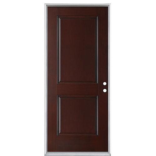 Everland 32-inch x 4 9/16-inch 2-Panel Fibreglass Left Hand Prehung Exterior Door in Cherry - ENERGY STAR®