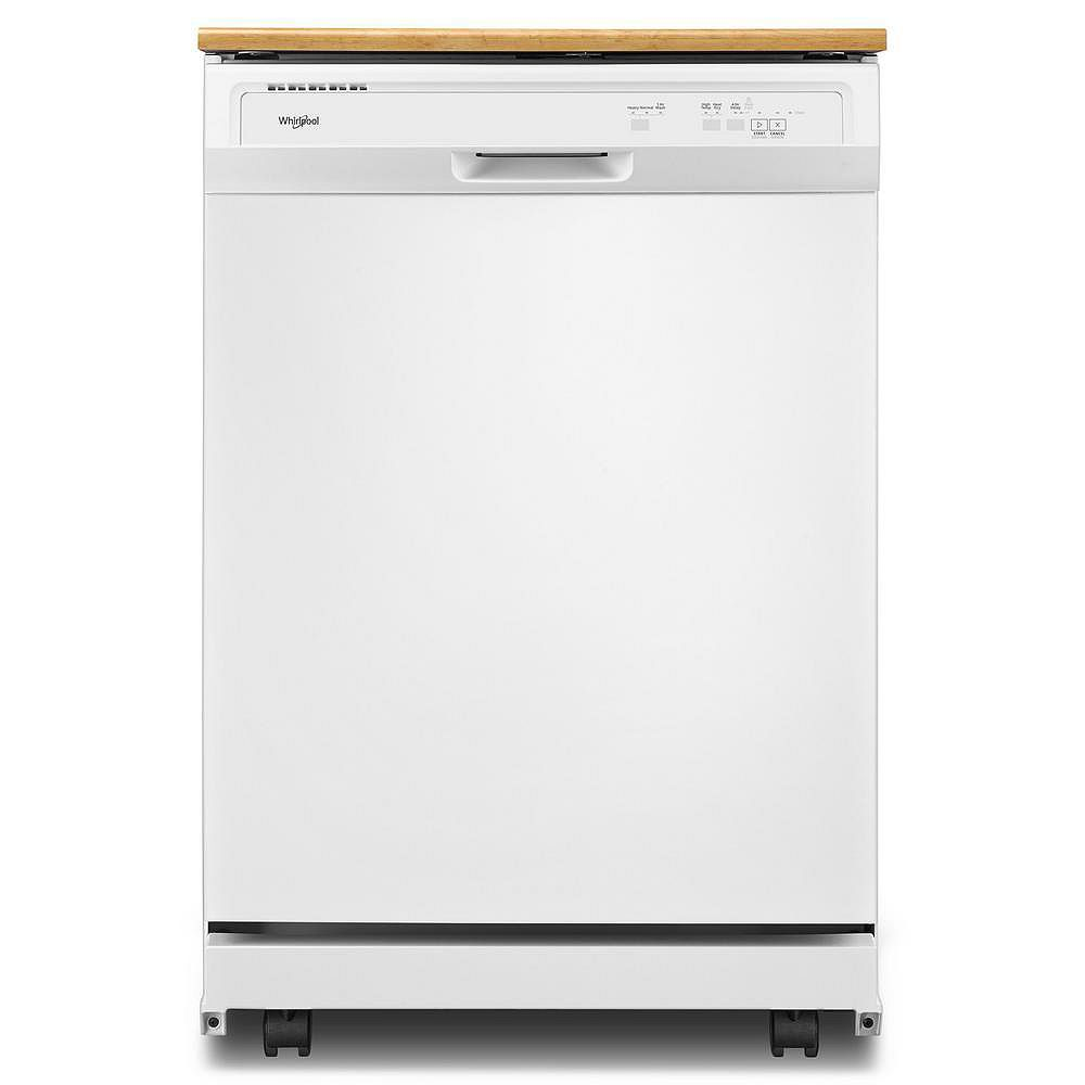 Whirlpool Front Control Portable Heavy-Duty Dishwasher in White, 64 dBA
