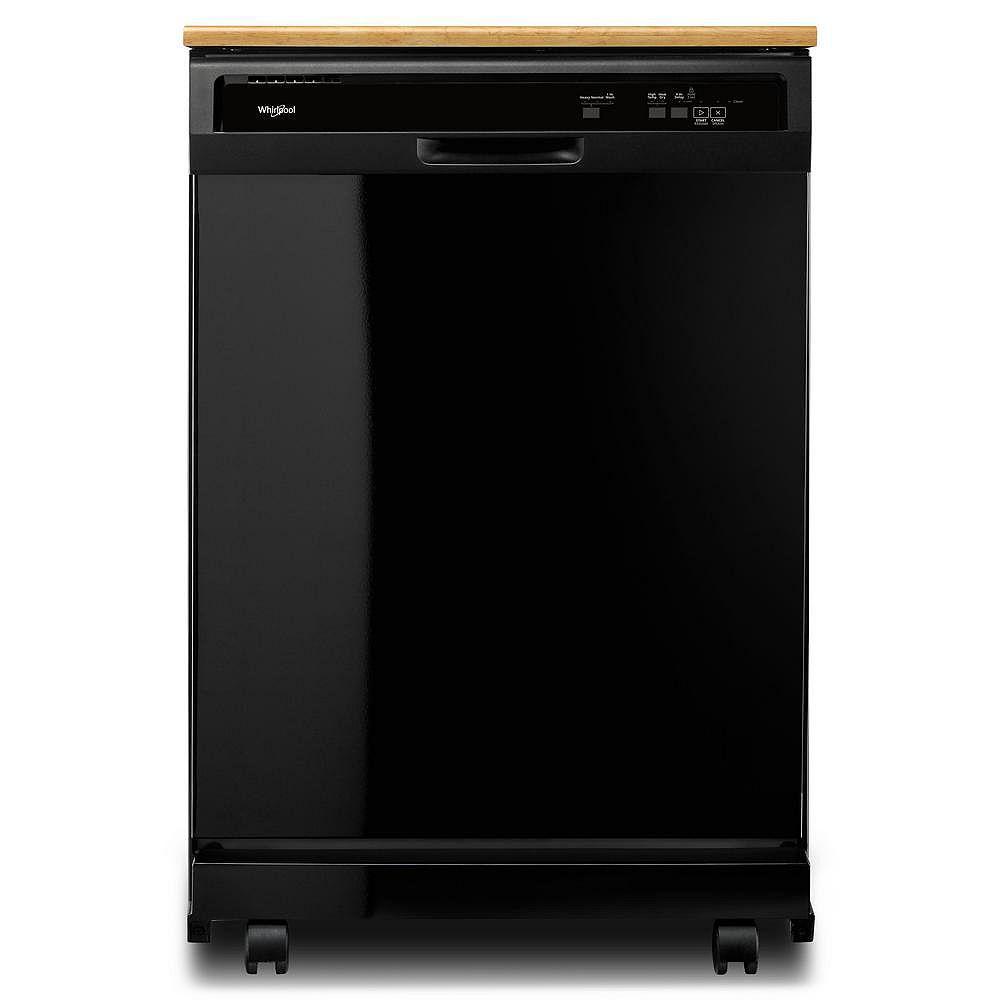 Whirlpool Front Control Portable Heavy-Duty Dishwasher in Black, 64 dBA