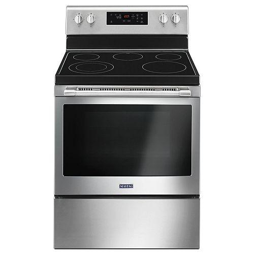 cuisinière électrique de 5,3 pi3 avec four autonettoyant en acier inoxydable résistant aux empreintes digitales