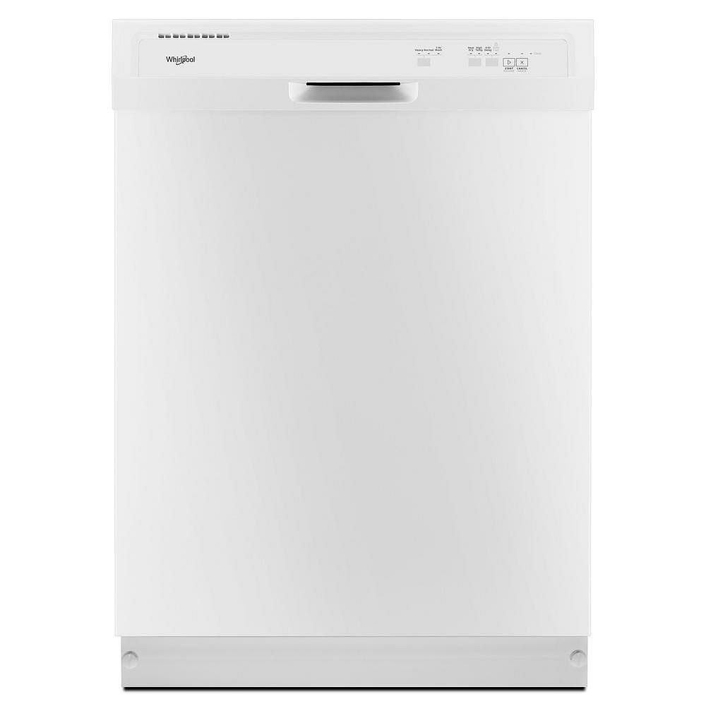 Whirlpool Front Control Dishwasher in White with Plastic Tub, 55 dBA - ENERGY STAR®