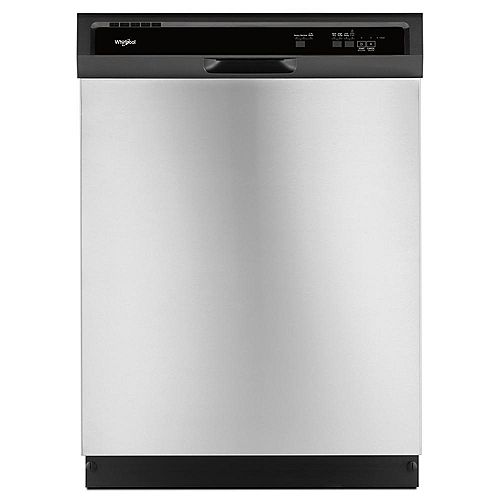 Whirlpool Front Control Dishwasher in Stainless Steel with Plastic Tub, 55 dBA - ENERGY STAR®