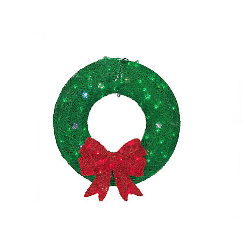 36-inch Multi-Colour LED-Lit Acrylic Green Christmas Wreath