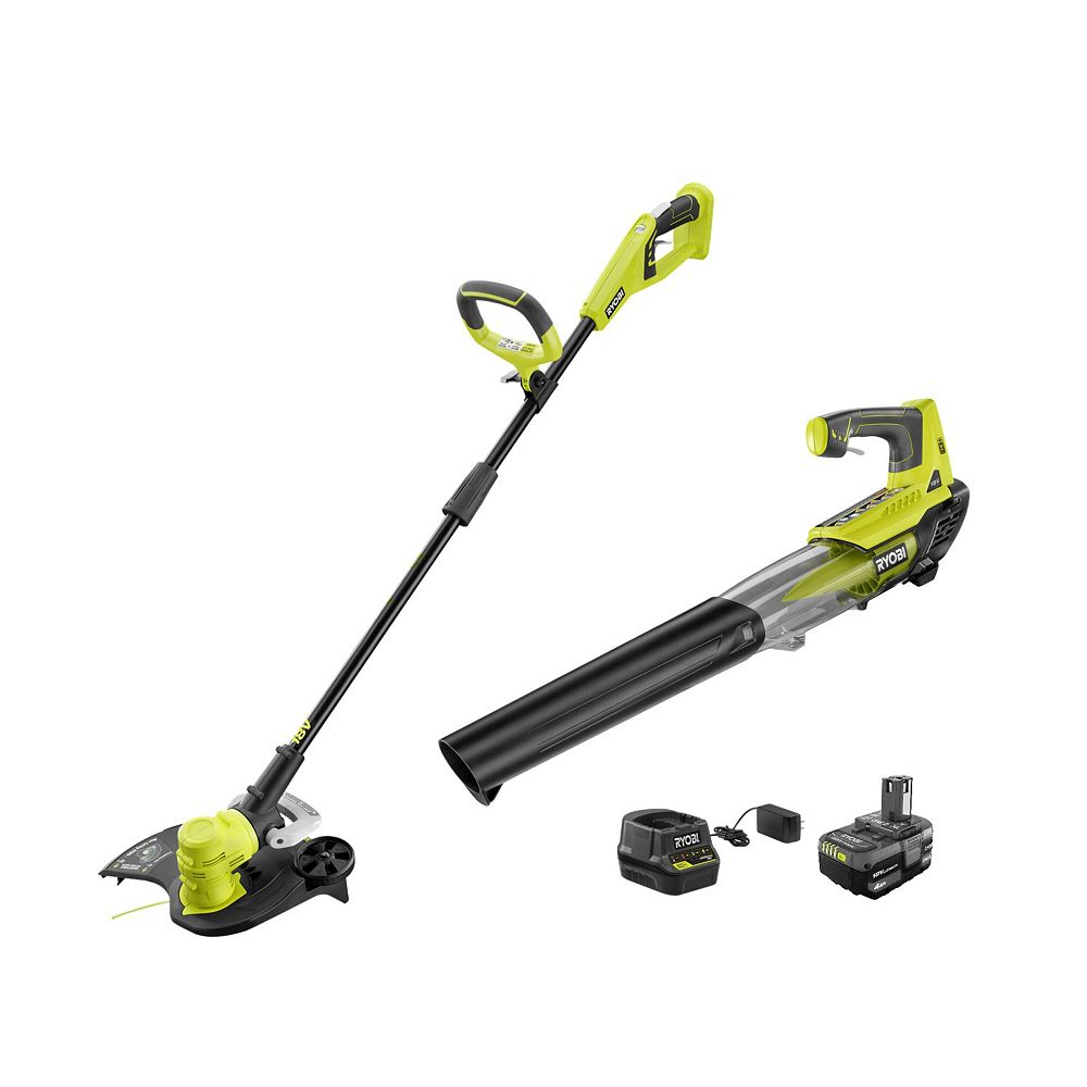 RYOBI 18V Li-Ion Cordless String Trimmer/Edger and Jet Fan Blower Combo Kit with Battery and Charger