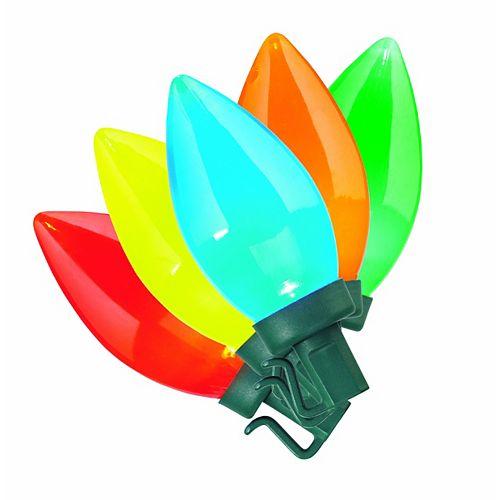 Guirlande lumineuse rétroéclairée très brillante à 70 ampoules à DEL C9, multicolore