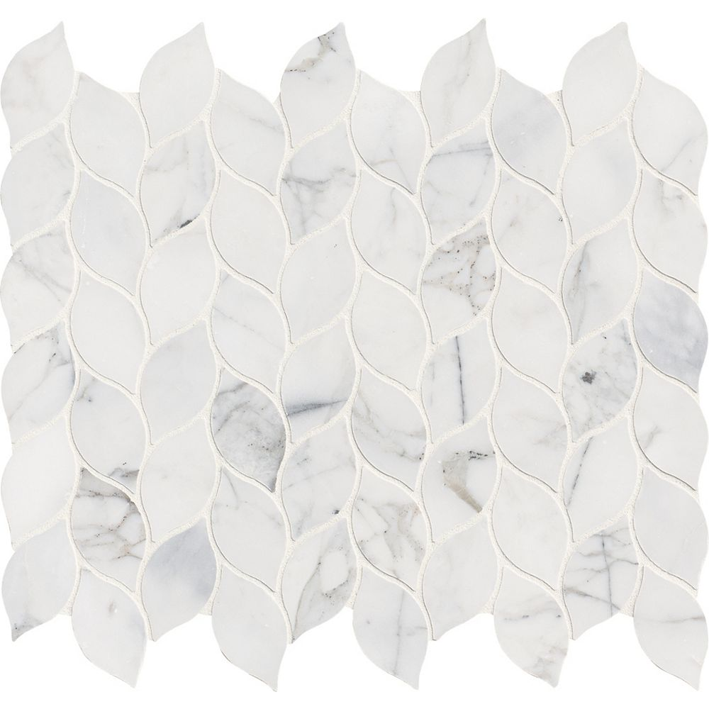 MSI Stone ULC Calacatta Blanco 12 Inch x 13 Inch Polished Marble Mesh-Mounted Mosaic Tile (1.08 sq. ft. / Each)