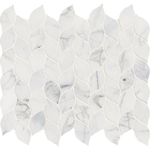 Calacatta Blanco 12 Inch x 13 Inch Polished Marble Mesh-Mounted Mosaic Tile (1.08 sq. ft. / Each)