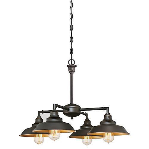 Iron Hill 4-Light Chandelier or Flush Mount Light Fixture in Bronze
