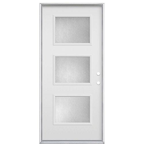34-inch x 80-inch x 7-1/4-inch 3 Panel Equal Modern Steel LH