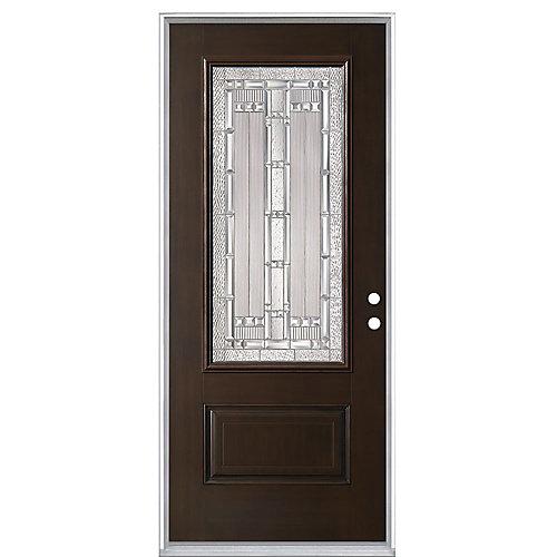 Everland Elmhurst 32-inch x 4 9/16-inch Fibreglass Left Hand Prehung Exterior Door in Chestnut - ENERGY STAR®