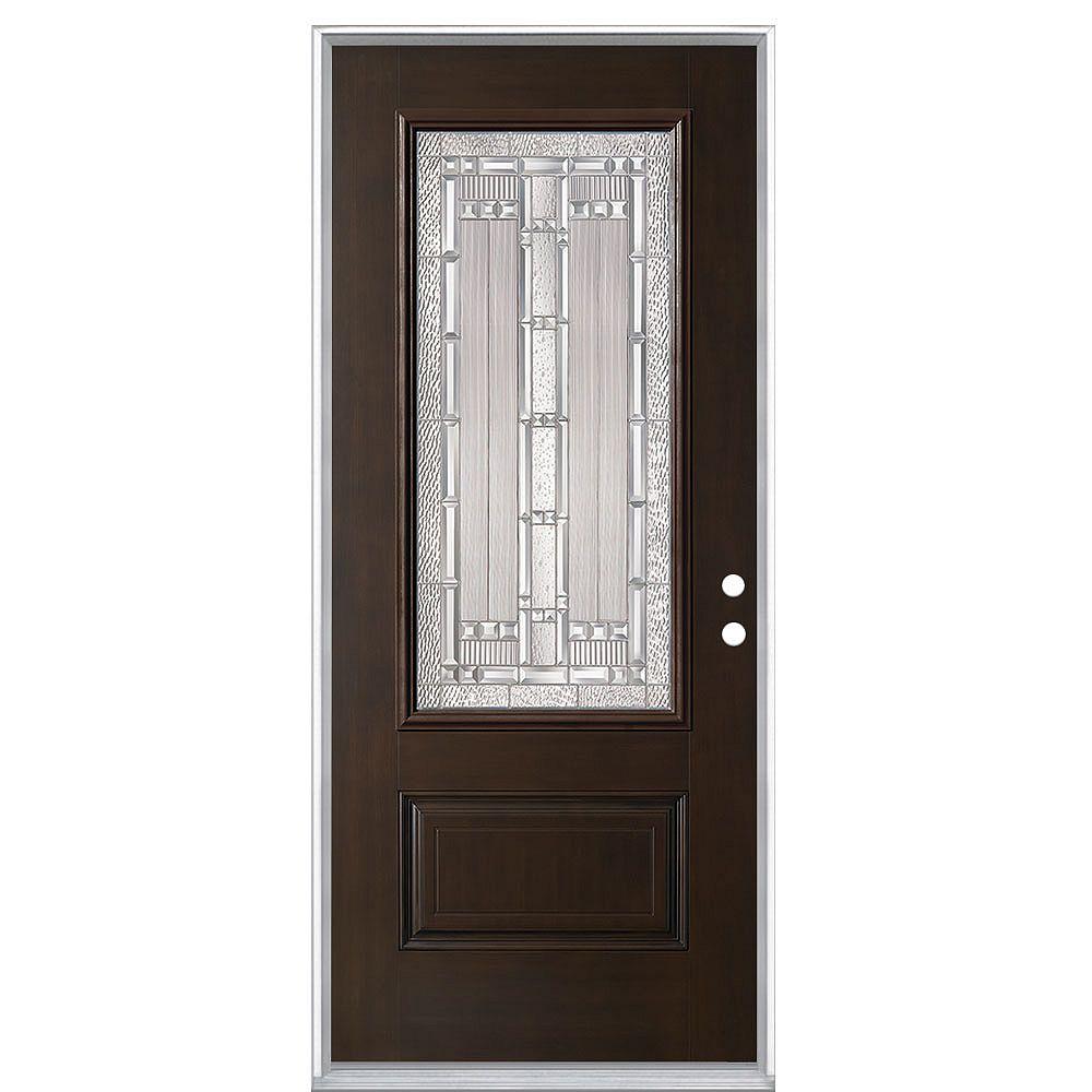 Masonite Everland Elmhurst 32-inch x 4 9/16-inch Fibreglass Left Hand Prehung Exterior Door in Chestnut