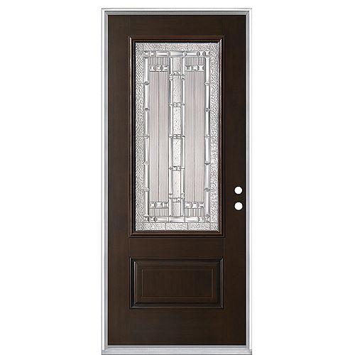 Everland Elmhurst 32-inch x 4 9/16-inch Fibreglass Left Hand Prehung Exterior Door in Chestnut