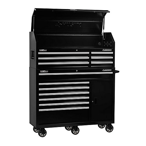 52-inch 13-Drawer Tool Chest and Cabinet Combo in Black