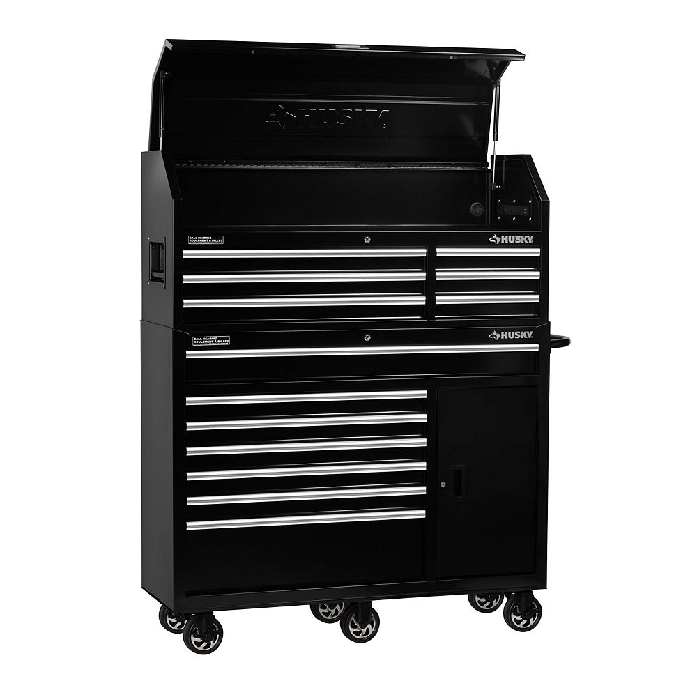 Husky 52 Inch 13 Drawer Tool Storage Chest And Cabinet Combo In Black The Home Depot Canada