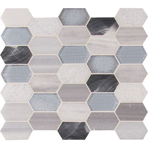 Harlow Picket 12 Inch x 12 Inch Glass Metal Stone Mesh-Mounted Mosaic Tile