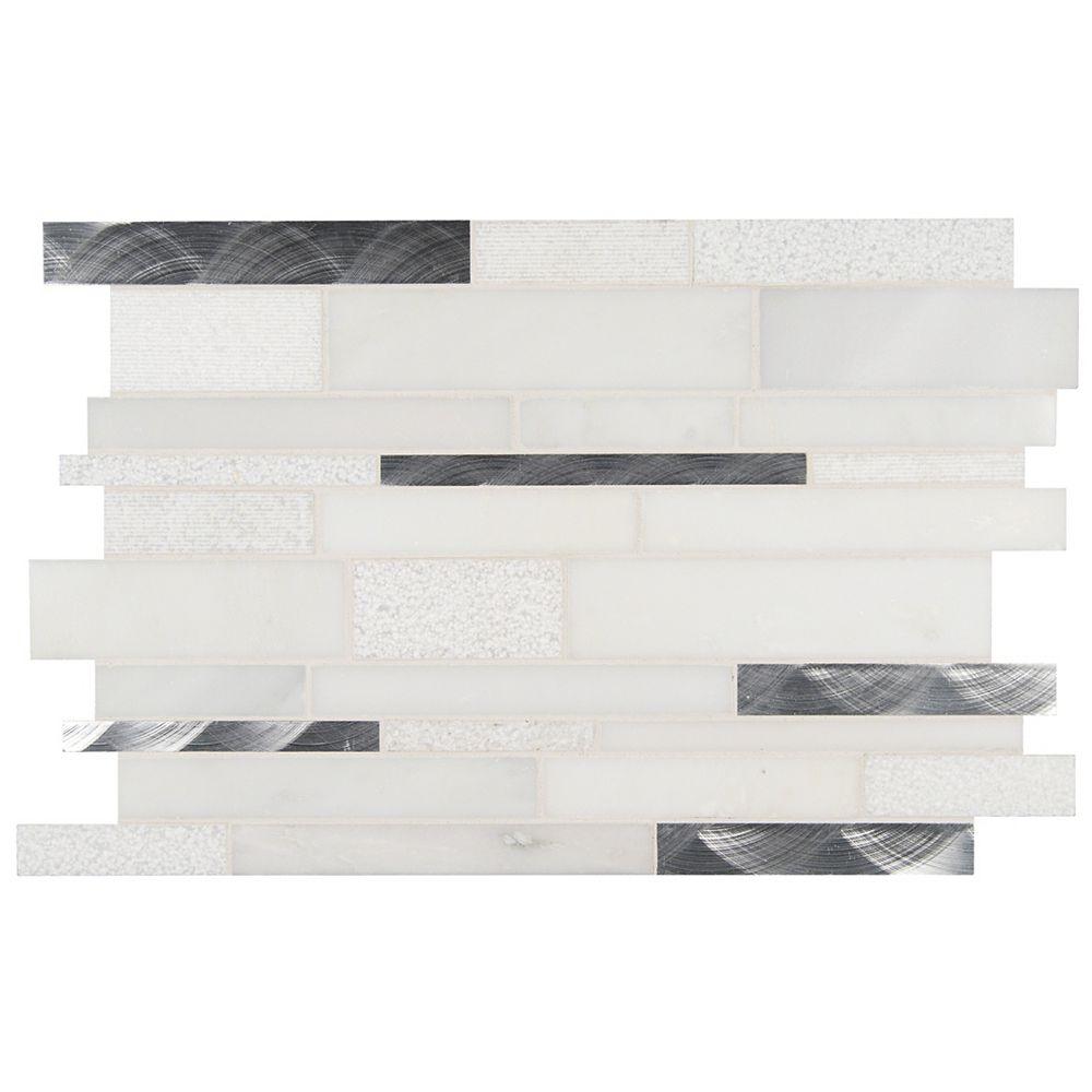 MSI Stone ULC Carreaux de mosaïque en métal/pierre imbriqués Moderno Blanco, 12 x 18 po,