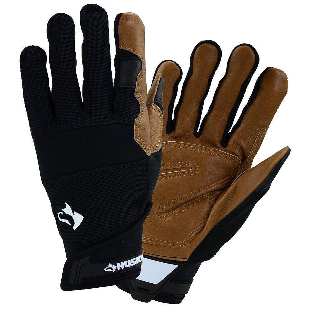 Husky Leather Hybrid Work Gloves - M