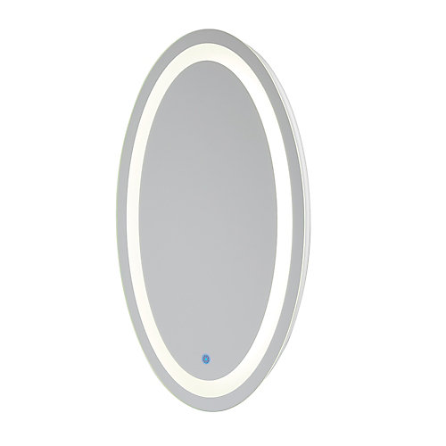 Florence Hardwired LED Backlit Mirror Oval for Bathroom or Vanity (21 inch x 31 inch)