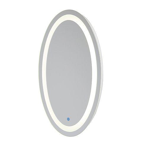 Miroir ovale Florence câblé avec rétroéclairage à DEL pour salle de bains ou meuble-lavabo(21pox31po)