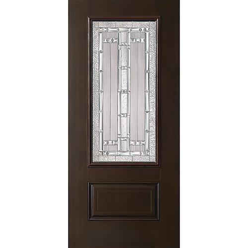 Everland Elmhurst 32-inch x 4 9/16-inch Fibreglass Right Hand Prehung Exterior Door in Chestnut - ENERGY STAR®