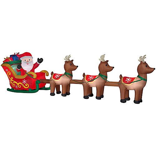 4.4 ft. x 16 ft. Inflatable Santa & Reindeer Outdoor Christmas Decoration