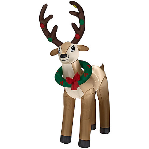 6 ft. Airblown Inflatable Reindeer with Wreath