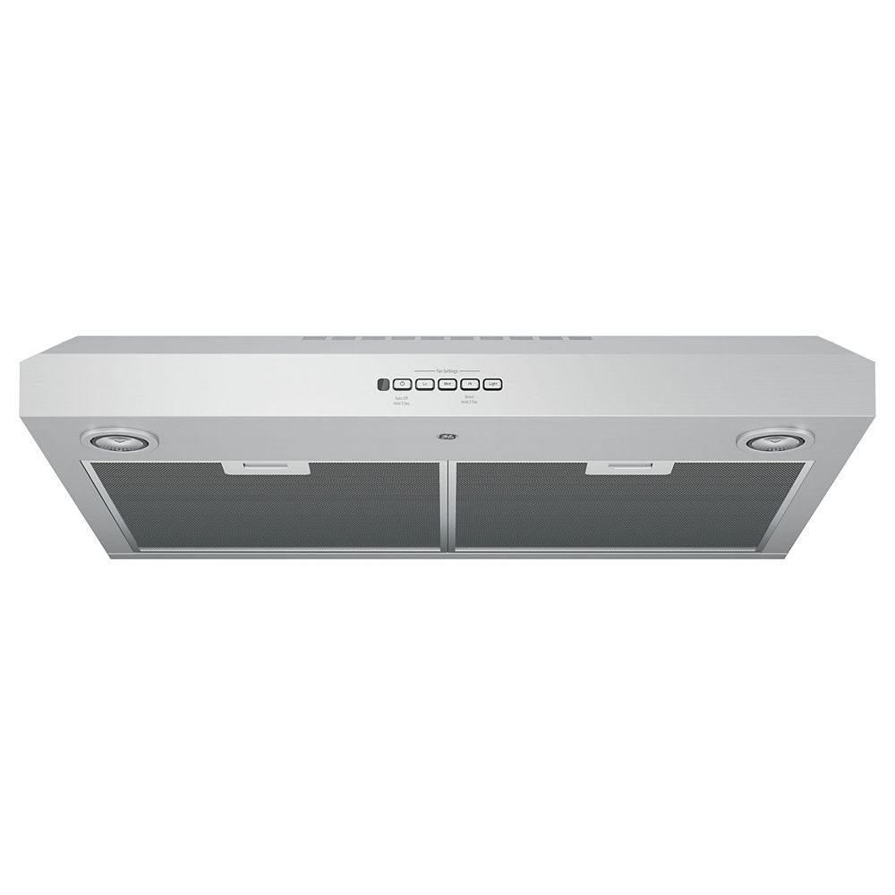 GE 30-inch W 4 Speed Under the Cabinet Range Hood in Stainless Steel