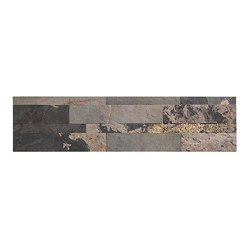 "Medley Slate - 4-Piece - 5.9"""" x 23.6"""" Peel and Stick Stone Backsplash Tile"