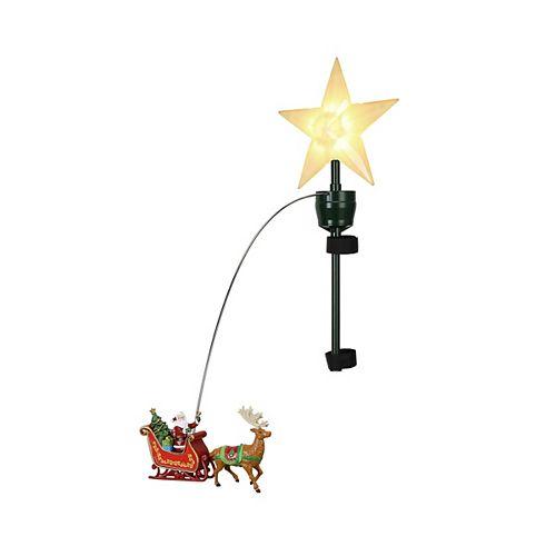 Décoration pour cime d'arbre Père Noël avec traîneau, 20 po