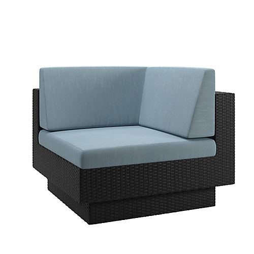 Park Terrace Corner Patio Sectional Seat in Textured Black Weave