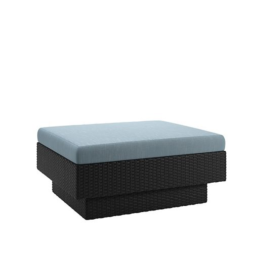 Park Terrace Patio Ottoman in Textured Black Weave