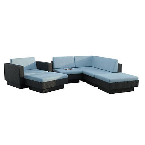Park Terrace 6-Piece Patio Sectional Set in Textured Black Weave
