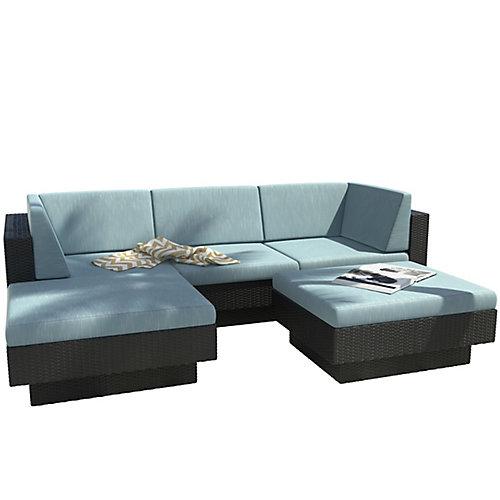 Park Terrace 5-Piece Double Armrest Patio Sectional Set in Textured Black Weave