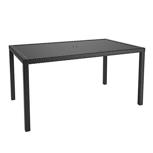 Sonax Park Terrace Patio Dining Table in Charcoal Black Weave