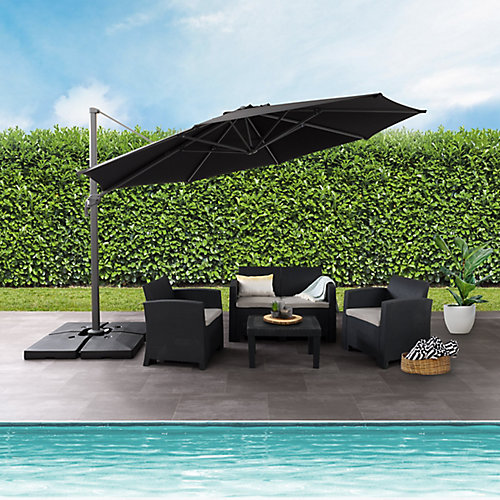 11.5 ft. UV Resistant Deluxe Offset Black Patio Umbrella