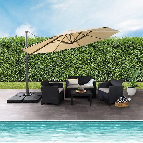 Corliving 11.5 ft. UV Resistant Deluxe Offset Warm White Patio Umbrella