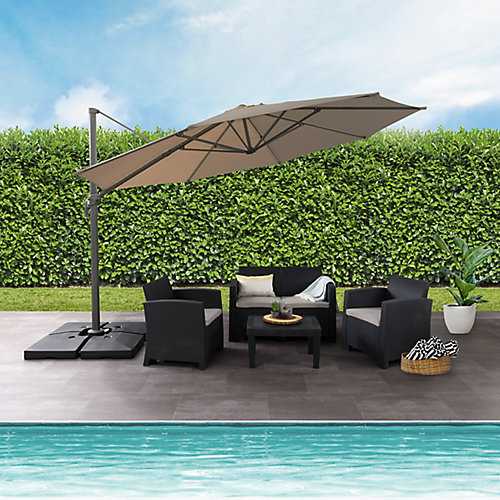 11.5 ft. UV Resistant Deluxe Offset Sandy Brown Patio Umbrella