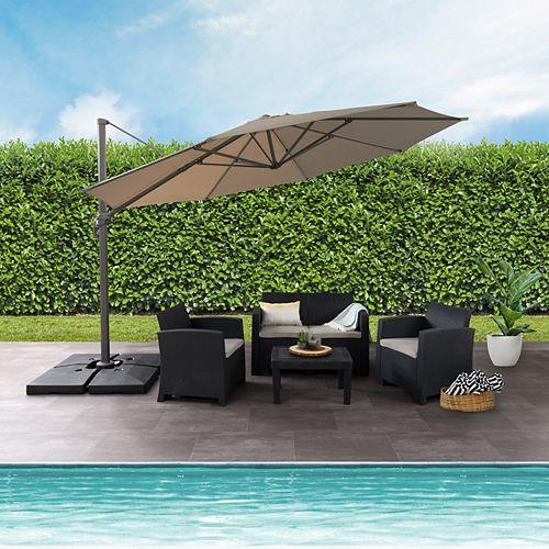 11.5 ft. UV Resistant Deluxe Offset Sandy Brown Patio Umbrella