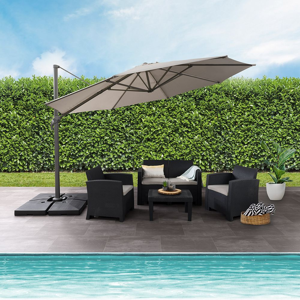Corliving 11.5 ft. UV Resistant Deluxe Offset Sand Grey Patio Umbrella