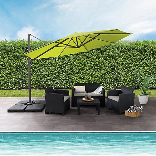Parasol de patio deluxe excentré et resistant aux UV vert lime de 11,5 pieds