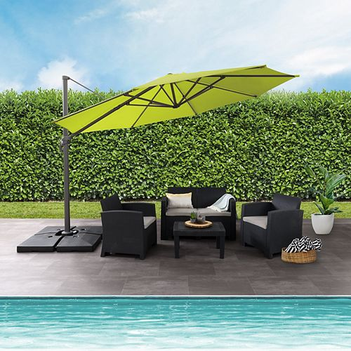 11.5 ft. UV Resistant Deluxe Offset Lime Green Patio Umbrella
