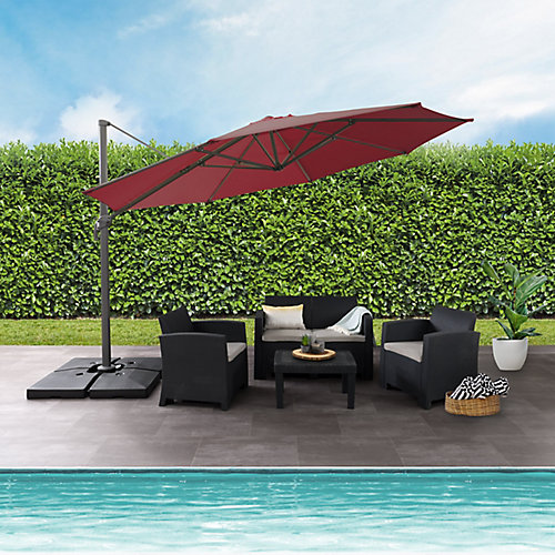11.5 ft. UV Resistant Deluxe Offset  Wine Red Patio Umbrella
