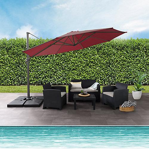 Parasol de patio deluxe excentré et resistant aux UV rouge vin de 11,5 pieds