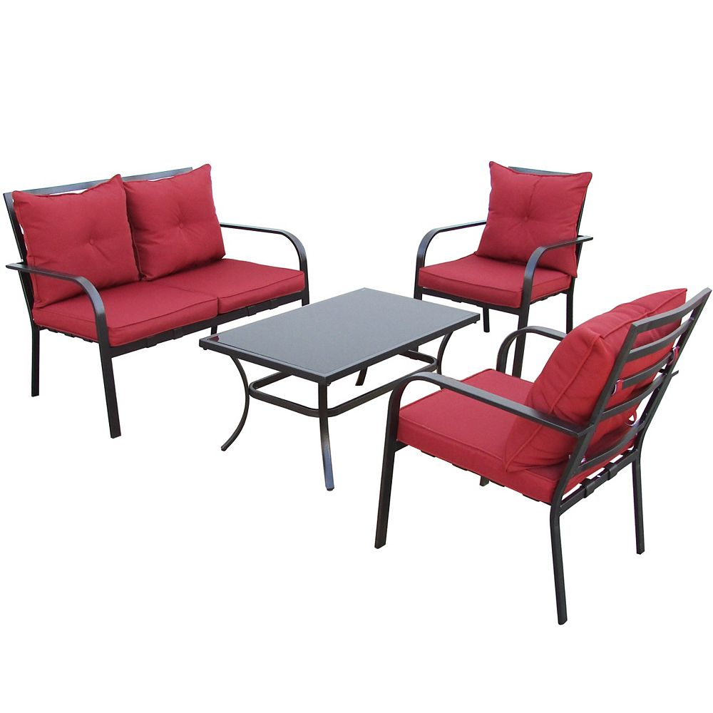 Corliving 4-Piece Patio Conversation Set in Charcoal Black and Red