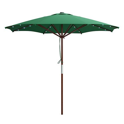 Patio Umbrella in Green with Solar Power LED Lights